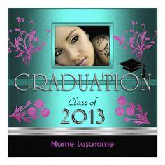 Graduation Party Black Teal Pink Girl Photo Custom Invitations by Zizzago.com