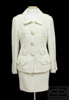 Chanel White & Metallic Tweed Camellia Button Jacket & Skirt Suit NEW 36 | eBay