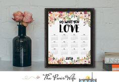 2016 Printable Calendar Printable Wall Calendar by TheParisWife