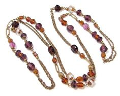 """GOLD TONE 47"""" FACETED PURPLE GLASS AMBER COLOR GIVRE ART GLASS BEAD NECKLACE"""