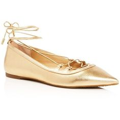 Michael Michael Kors Tabby Metallic Lace Up Pointed Toe Ballet Flats