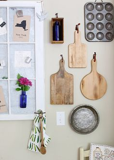 Add some charm to your kitchen by hanging decorating cutting boards, muffin tins, and more. Create the Kitchen Gallery Wall using Command™ Brand Picture Hanging Strips.