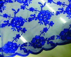 Tule Bordado  Azul Royal TR