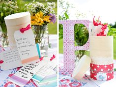 Prepare cute cards for baby shower guests to give advice about raising children