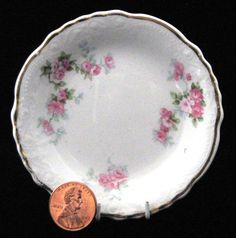 Butter Pat Grindley Antique English Butter Chip Roses 1914-1918 Teabag Caddy