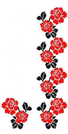 FL107 Cross Stitch Bookmarks, Cross Stitch Heart, Cross Stitch Borders, Cross Stitch Flowers, Cross Stitch Designs, Cross Stitch Patterns, Border Embroidery Designs, Embroidery Patterns, Beaded Embroidery