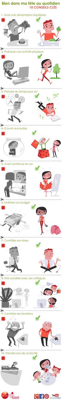 Bien dans ma tête au quotidien, 10 conseils clés #santementale #bienetre http://www.prioritesantemutualiste.fr/upload/docs/text/html/2014-10/10-conseils-pour-etre-bien-dans-ma-tete.html