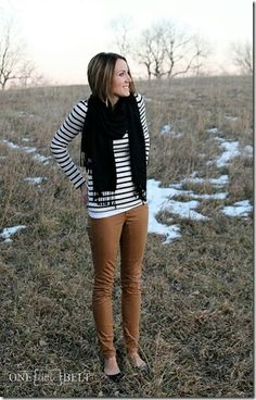 Camel pants + Stripe shirt + Black scarf