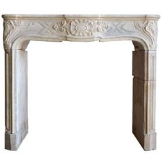 French Louis XV Period Limestone Fireplace - 18th Century