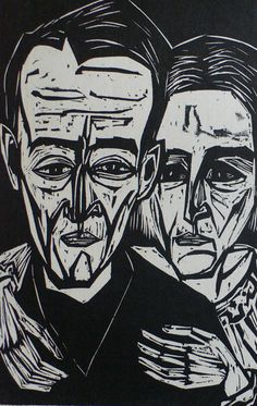 """""""Portrait of Rico and Lilly Jenny"""" woodcut by August Hermann Scherer -- The abstract portrait again German Expressionism Art, Expressionist Portraits, Woodcut Art, Linocut Prints, Gravure Photo, George Grosz, Portrait Art, Abstract Portrait, Woodblock Print"""