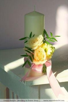 Florarie sibiu | Eventi Bianchi | Buchet de mireasa | Flori nunta : Lumanari cununie - lumanari nunta Pillar Candles, Bouquets, Creativity, Roses, Table Decorations, Wedding, Home Decor, Facades, Valentines Day Weddings