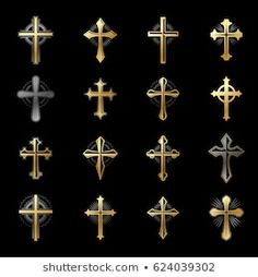 Crosses of Christianity Religion emblems set. Heraldic Coat of Arms decorative logos isolated vector illustrations collection. Filipino Tribal Tattoos, Hawaiian Tribal Tattoos, Cross Tattoo For Men, Cross Tattoo Designs, New Tattoos, Tattoos For Guys, Eagle Wing Tattoos, Cross Shoulder Tattoos, Black Hills Gold Jewelry