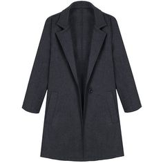Yoins Dark Grey Lapel Collar Side Pocket Duster Coat ($48) ❤ liked on Polyvore featuring outerwear, coats, jackets, coats & jackets, yoins, grey, collar coat, duster coat, lapel coat and grey coat