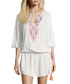 Wyatt White Embroidered V-Neck Drop Waist Short Kaftan