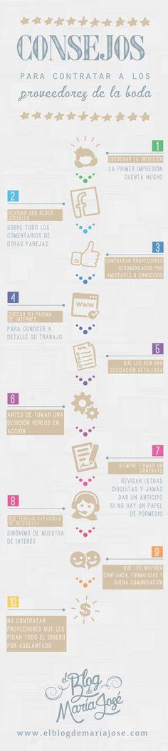 Consejos para contratar a los proveedores de la boda #bodas #ElBlogdeMaríaJosé #Proveedoresboda #infografía