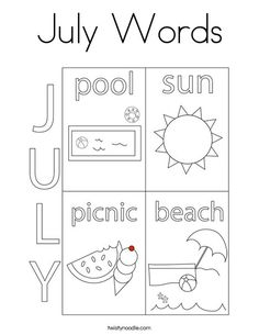 July Words Coloring Page - Twisty Noodle School Sports, Summer Is Here, Two Year Olds, Kids Prints, Summer School, Cursive, Noodle, Coloring Pages, Texts