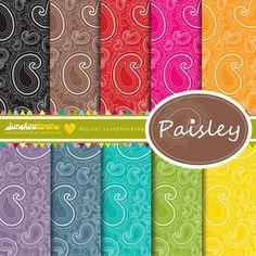 Paisley Digital Scrapbooking Papers