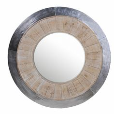 Accentuate your home with this round aluminum whitewash mirror from Privilege International.