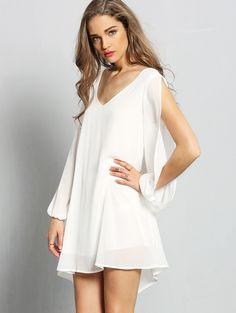 White V-neck Split Sleeve Chiffon Dress