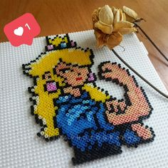 Princess Peach feminist - Hama (perler) beads by Vodevila