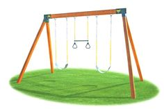 Eastern Jungle Gym Classic A-Frame Swing Set Hardware Kit - You'll be a real hero to your kids when you build them their very own swing set. The Eastern Jungle Gym Classic A-Frame Swing Set Hardware Kit is. Swing Set Kits, A Frame Swing Set, Swing Set Plans, Swing Sets For Kids, Gym Plans, Cedar Swing Sets, Wood Swing Sets, Backyard Swing Sets, Diy Swing