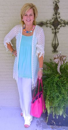 50 IS NOT OLD | WHITE ON WHITE | Light Blue | Pastel | Pop Of Color | Lace Cardigan | Fashion over 40 for the everyday woman