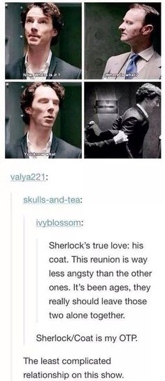 Sherlock X The coat is my OTP. (I really don't think Sherlock should be in a romantic relationship. It wouldn't be true to the character.)