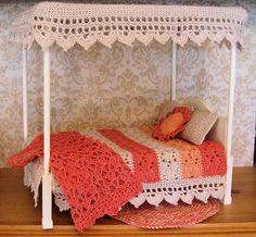 I like different elements of this for inspiration -like the crocheted child's bed canopy or handmade doll furniture for my dollhouse.