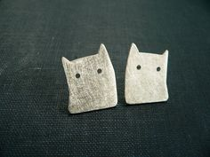 Silver earrings with the silhouette of a cat from lucia laredo jewelry by DaWanda.com