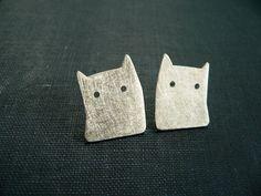 Silber-Ohrringe,+Katze+Silhouette+von+Lucia+Laredo+Schmuck+auf+DaWanda.com