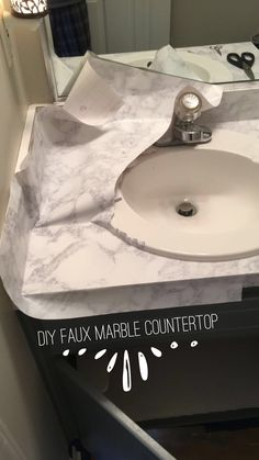 Use an to get a tight fit around sin. Use an to get a tight fit around sin. Peel And Stick Countertop, Faux Marble Countertop, Countertop Makeover, Sink Countertop, Painting Bathroom Countertops, Contact Paper Countertop, Vinyl Countertops, Cheap Countertops, Papel Contact