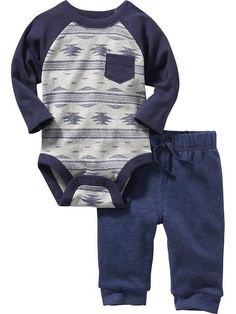 Blue 18-24 months One-Piece Bodysuit and Pants Set for Baby Product Image