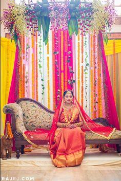 Indian wedding decor ideas. South Indian reception decoration. Traditional Southern Indian bride wearing bridal hair, saree and jewellery. Muhurat look. Makeup by Swank Studio. #BridalSareeBlouse #SariBlouseDesign   Find us at https://www.facebook.com/SwankStudioBangalore
