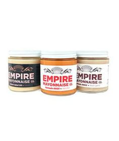Empire Mayonnaise: Bacon-flavored mayonnaise? Now that's a miracle whip. This trio—bacon, red chili, and black garlic—are ideal for sandwiches or dipping.