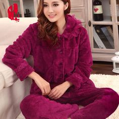 Cheap nightgown satin, Buy Quality nightgown manufacturers directly from China nightgown sleepwear Suppliers: Thick Coral Velvet Pajamas Sets Autumn and Winter Women Flannel Sleepwear Casual Female Nightgown Pyjamas, Sexy Pajamas, Pajamas Women, Night Suit For Women, Pajama Outfits, Designs For Dresses, Classy Dress, Night Gown, Pajama Set
