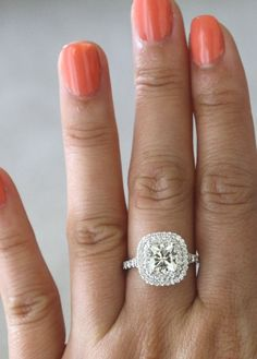 SET++7mm+Cushion+Moissanite+Diamond+Split+Shank+by+Studio1040,+$3900.00