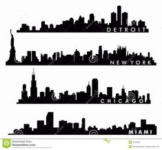 New York Skyline, Chicago Skyline, Miami Skyline, Detroit Skyline - Download From Over 45 Million High Quality Stock Photos, Images, Vectors. Sign up for FREE today. Image: 45206337