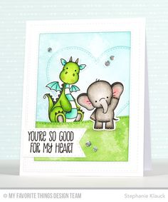 Magical Dragons Stamp Set and Die-namics, Adorable Elephants Stamp Set and Die-namics, Stitched Heart STAX Die-namics, Stitched Rectangle Frames Die-namics, Stitched Snow Drifts Die-namics, Stitched Fishtail Flags STAX Die-namics - Stephanie Klauck  #mftstamps