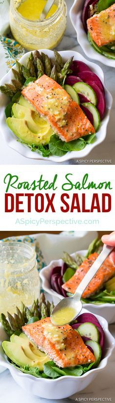 The Best Roasted Salmon Detox Salad Recipe | ASpicyPerspective.com