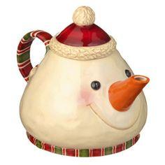 Snowman teapot. What a great spout!