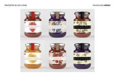 Eroski Basic, Eroski Eco and Eroski Premium. Jam Label, Honey Packaging, Food Packaging Design, Jam Recipes, Hot Sauce, Bottle, Product Packaging, Package Design, Unicorn