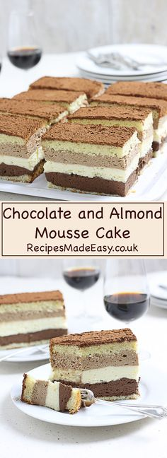 Three layers of delicious rich chocolate mousse set between almond flavoured genoise sponge. This triple chocolate mousse cake is a chocolate lovers dream.