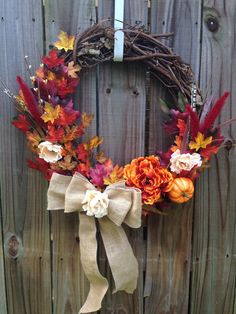 Autumn Leaves grapevine wreath  Fall leaves by WildEarthWorkshop