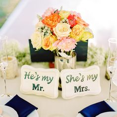 Mr. and Mrs. Placards // Mandy Mayberry Photography // Centerpieces: Blooms Of Hope // http://www.theknot.com/weddings/album/a-classic-rustic-wedding-in-beverly-ma-143702