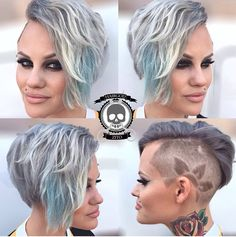 Icy blue undercut with floral shaved design