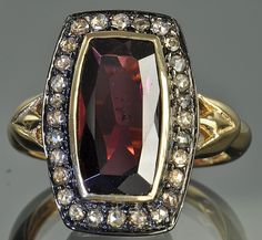 Victorian Style Garnet and Diamond Ring
