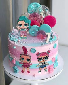 Beautiful round tall cake decorated in pastel colors with LOL Surprise figures . Doll Birthday Cake, Funny Birthday Cakes, Image Pastel, Lol Doll Cake, Surprise Cake, Beautiful Birthday Cakes, Doll Party, Character Cakes, Lol Dolls