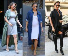 13 looks da Chrissy Teigen grávida por aí e que mostram que o estilo inspira as gestante e as que não também! Casacos longos e poderosos para momento! Veja