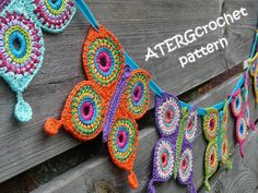 Crochet pattern butterfly garland by ATERGcrochet by ATERGcrochet, €2.75