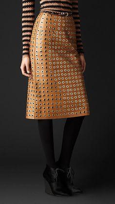 Leather Eyelet Skirt | Burberry